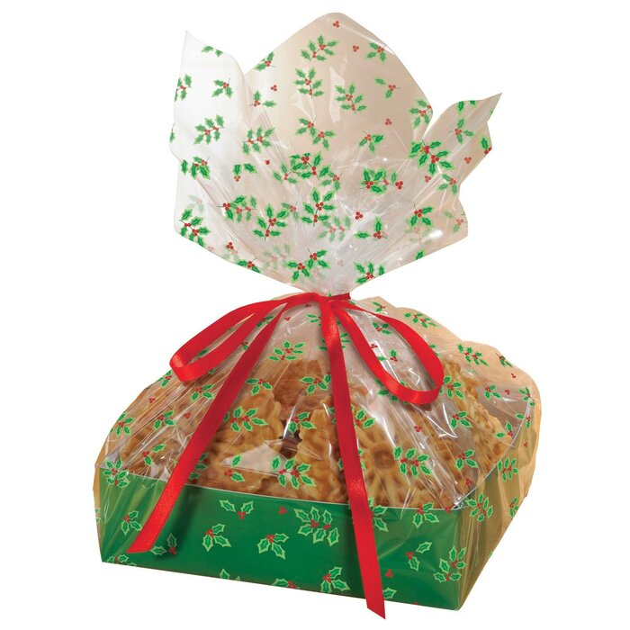 Christmas Cellophane Bags.Christmas Holly Large Treat Trays With Cellophane Bags