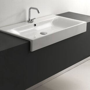 WS Bath Collections Cento Ceramic Ceramic Rectangular Vessel Bathroom Sink with Faucet and Overflow