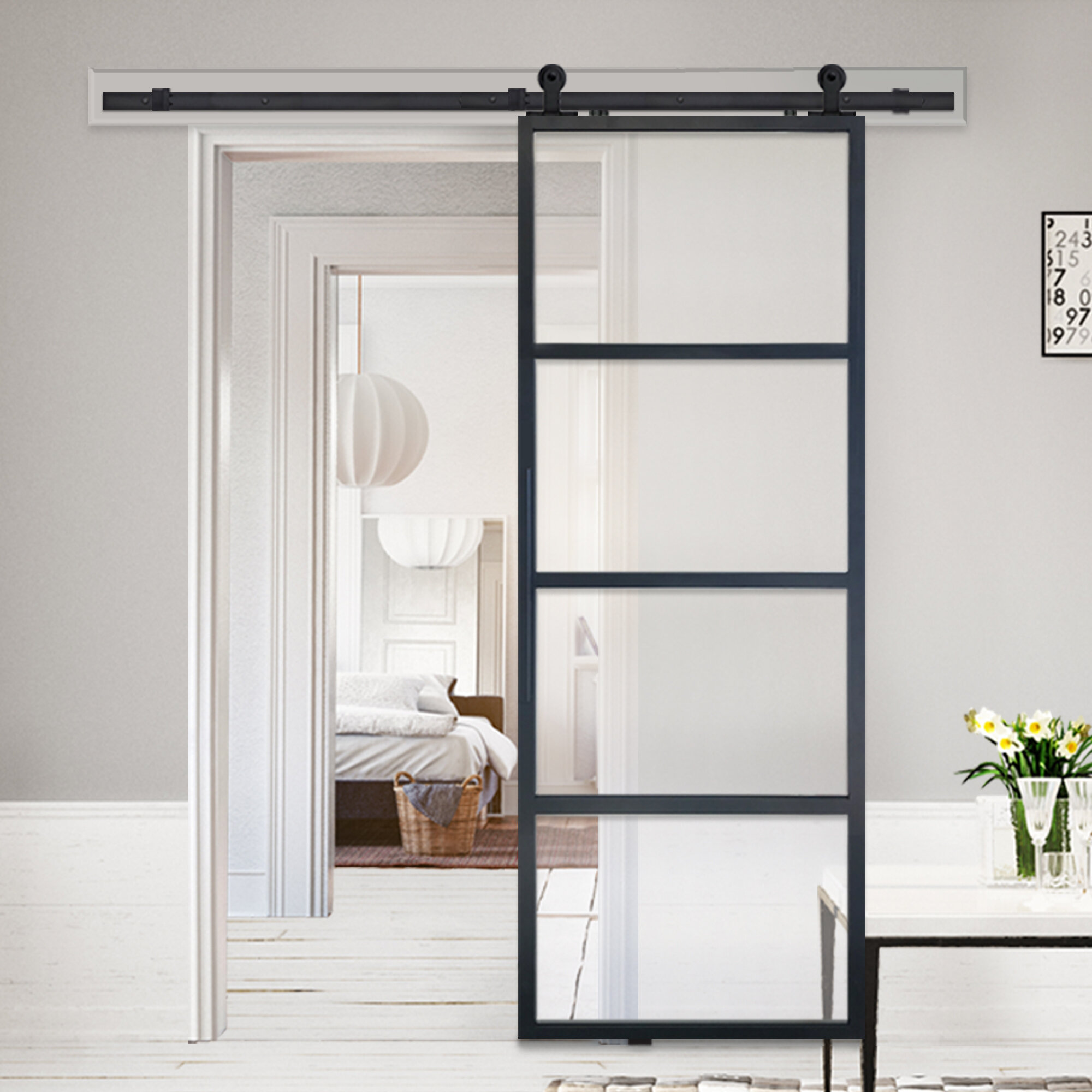 Barndoorz French Glass Barn Door With Installation Hardware Kit