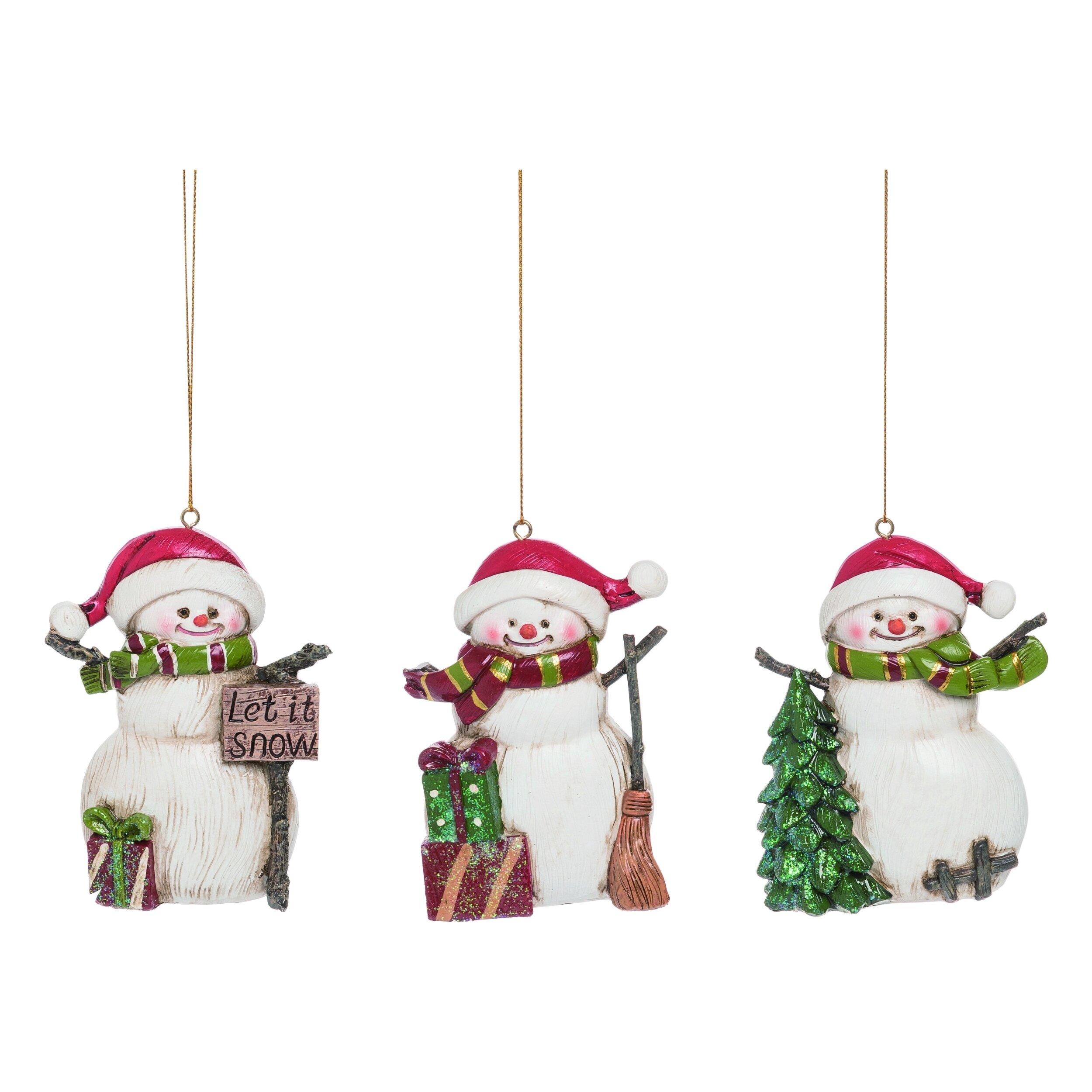 The Holiday Aisle 3 Piece Festive Snowman Hanging Figurine Ornament Set Reviews Wayfair