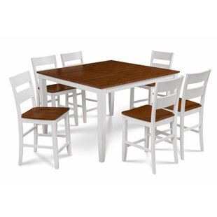 Bennet Solid Wood 7 Piece Counter Height Extendable Solid Wood Dining Set Alcott Hill
