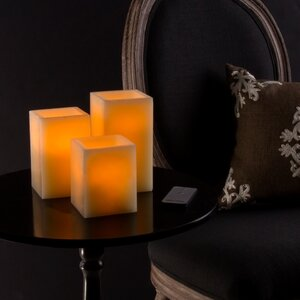 3 Piece Square Scented Flameless Candle Set