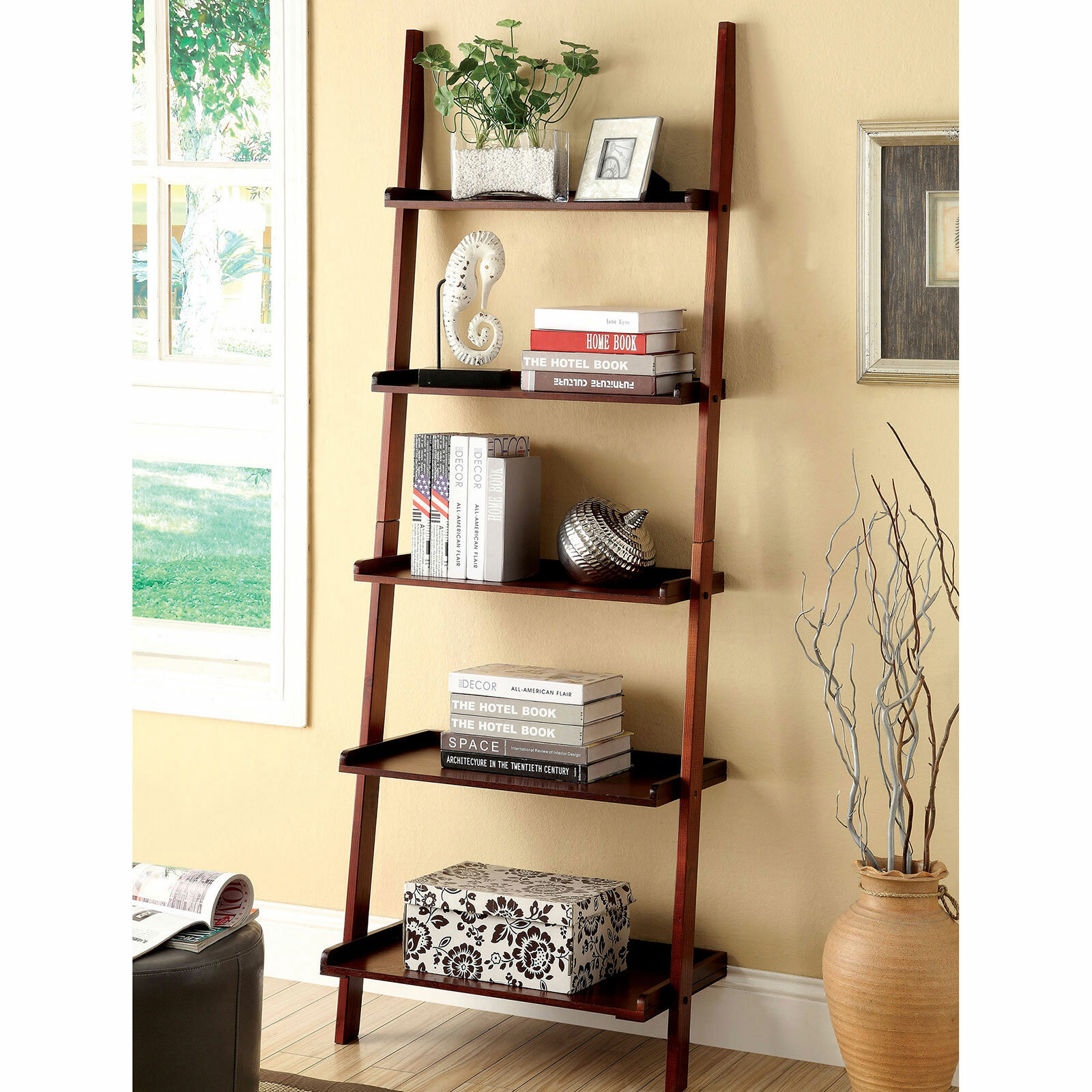 Ebern Designs Herron 72 H X 25 W Solid Wood Ladder Bookcase Reviews Wayfair