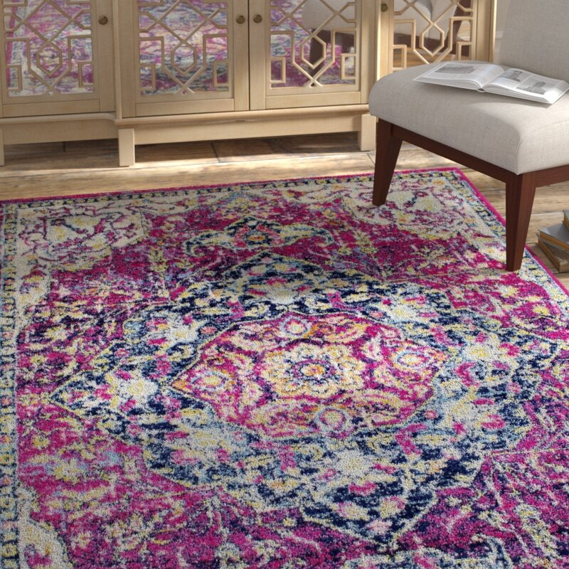 Bungalow Rose Pena Violet Area Rug, Size: Rectangle 74 x 106
