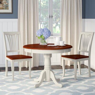 Ranshaw 3 Piece Bistro Set Alcott Hill Table Base Color: Buttermilk, Table Top Color: Cherry