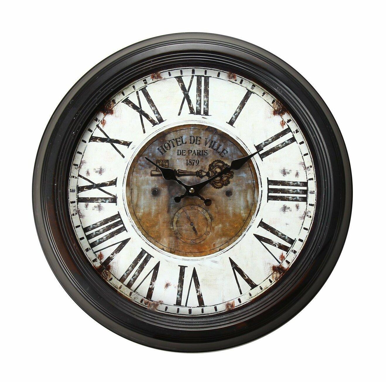 One Allium Way Hotel De Ville Vintage Inspired 18 5 Round Wall Clock Wayfair