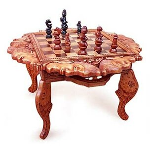 19 75 Buddha And Monks Wood Chess Table
