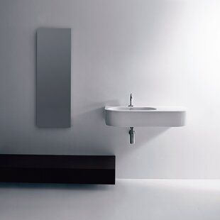 WS Bath Collections Flo Ceramic Ceramic U-Shaped Vessel Bathroom Sink with Overflow