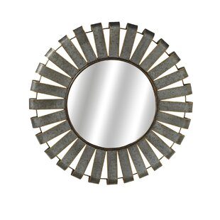 Gracie Oaks Albinson Round Galvanized Slat Accent Mirror