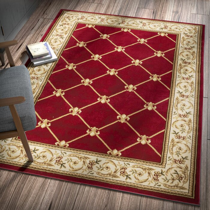 Astoria Grand Colindale Fleur De Lis Red Area Rug Reviews Wayfair Ca
