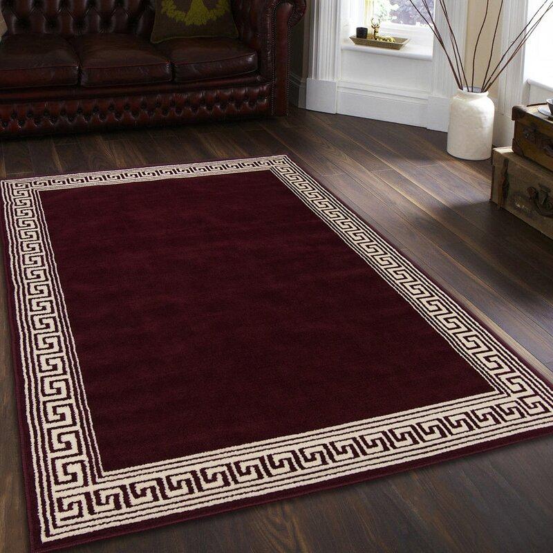 0dcb0dc9d57ea Idina Burgundy High Quality Woven Traditional Southwestern Geometric Border  Designed Solid Area Rug (2'