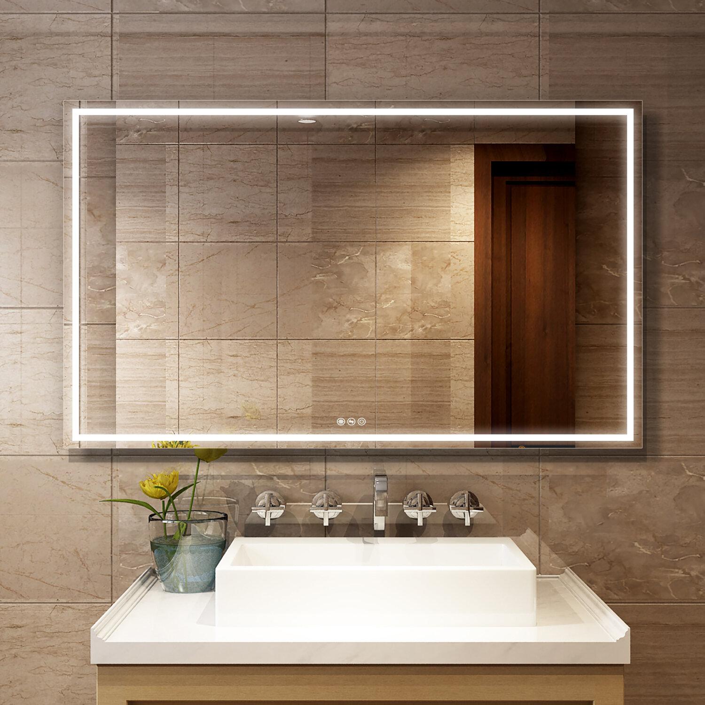 Boyel Living Frameless Led Lighted Bathroom Wall Mounted Mirror Wayfair