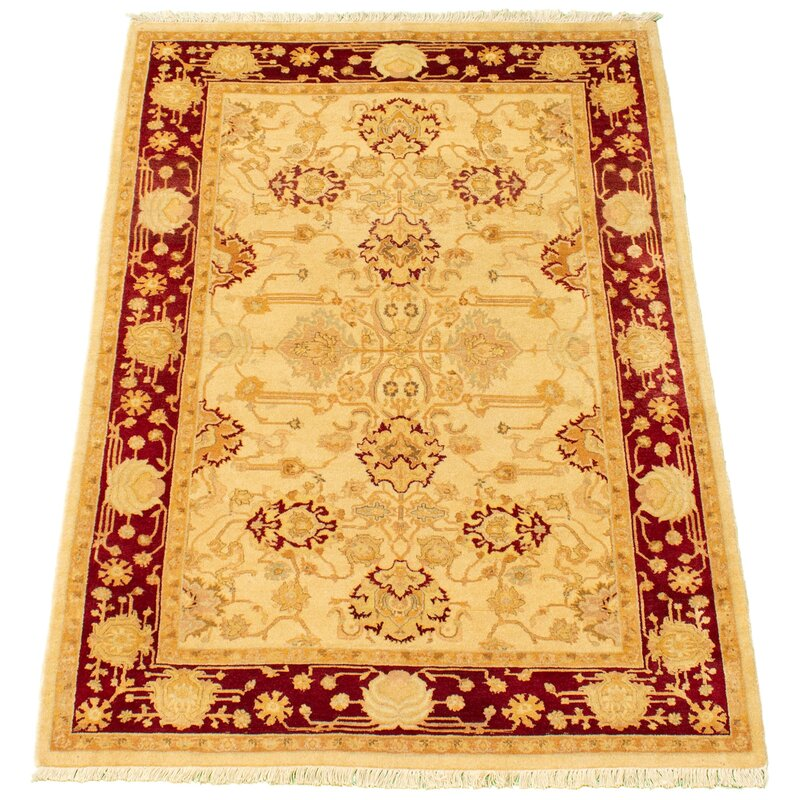 Ecarpetgallery One Of A Kind Hand Knotted New Age Pako Persian Light Khaki 4 X 6 2 Wool Area Rug Wayfair