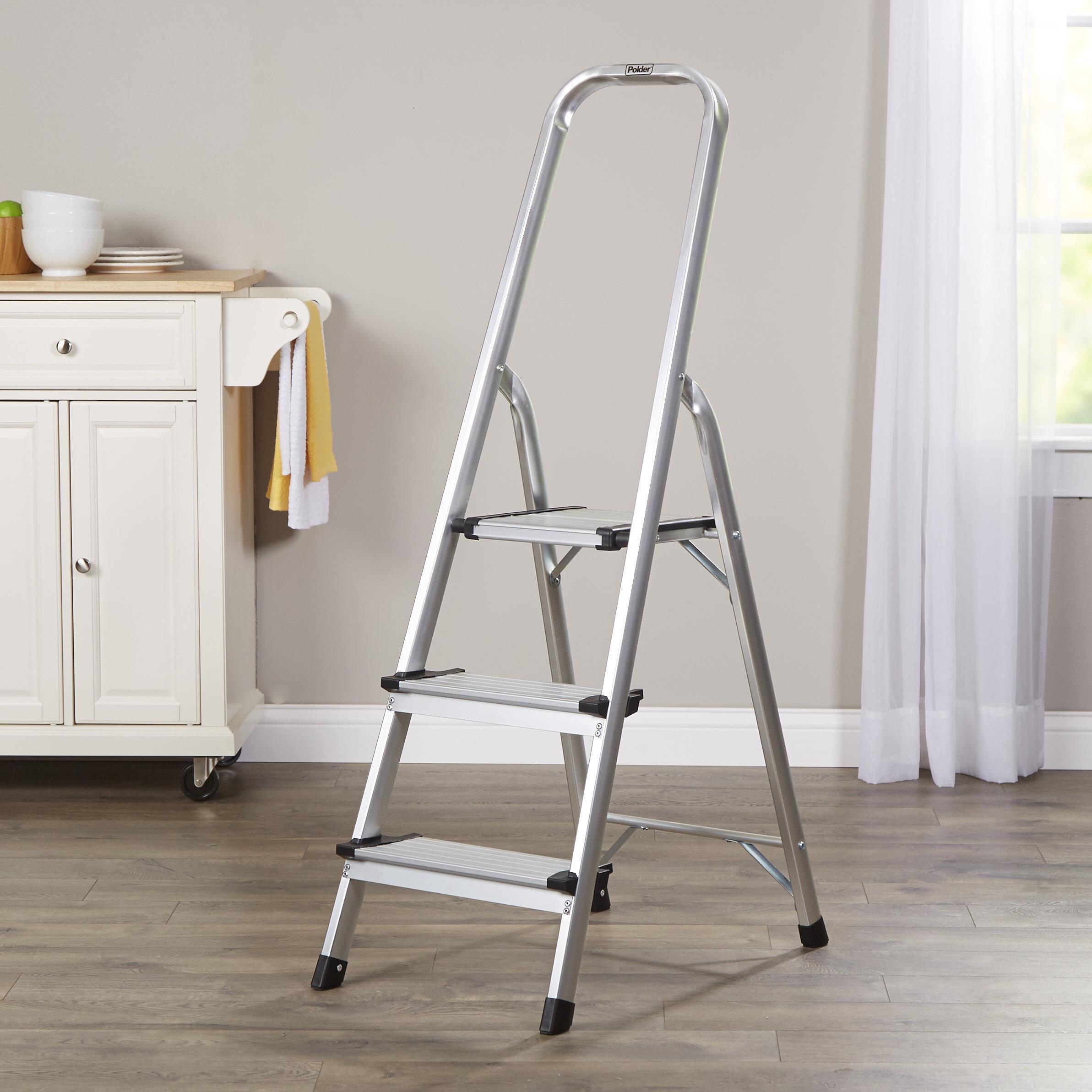 Wayfair Basics Aluminum 3 Step Ultralight Folding Stool With 225 Lb Load Capacity Reviews