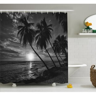 Tropical Coconut Palm Trees Print Single Shower Curtain