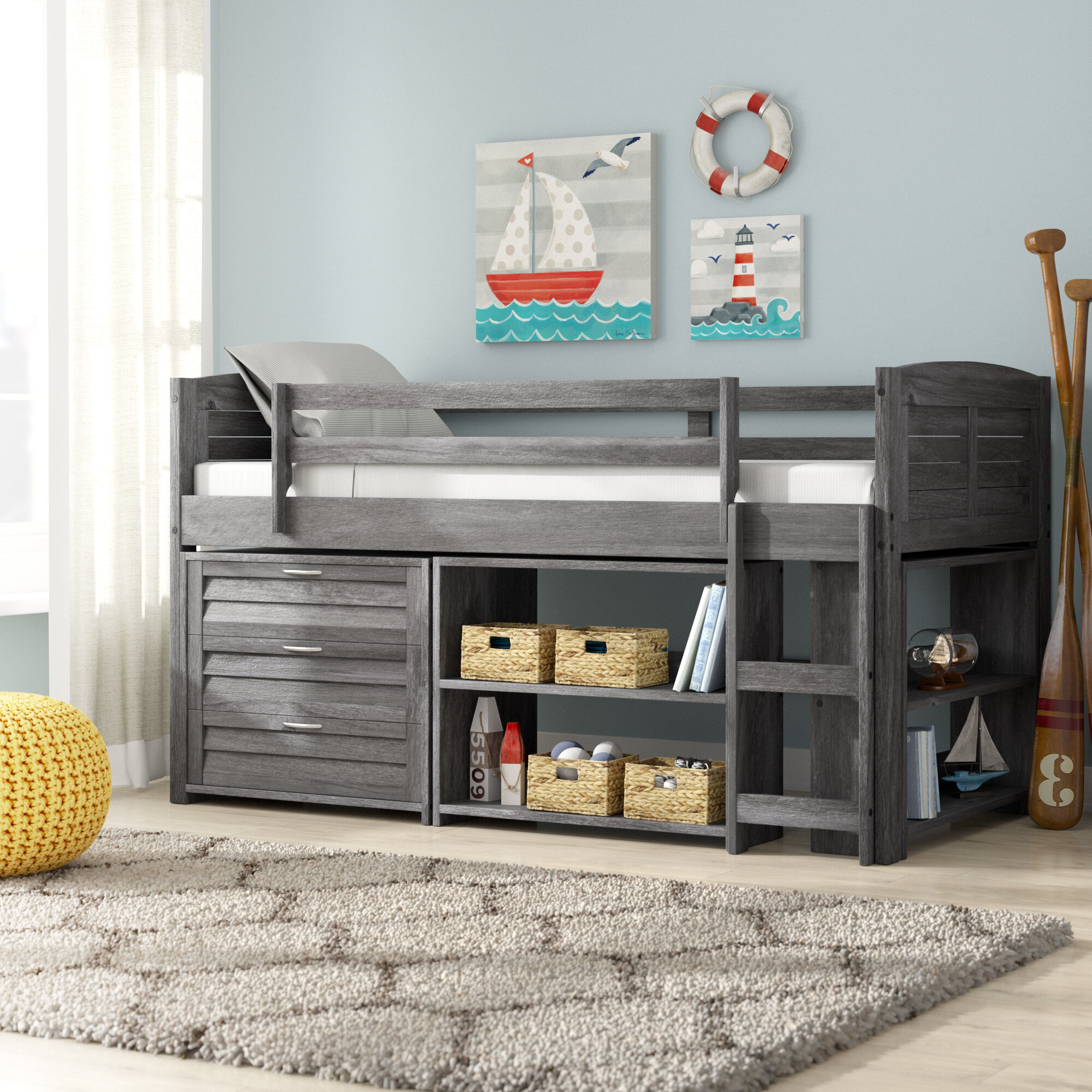 Harriet Bee Evan Modern Twin Low Loft Bed With Storage
