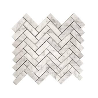 Tile Mosaic Depot 0 63 X 1 25 Marble Chevron Mosaic Wall Floor Tile Wayfair