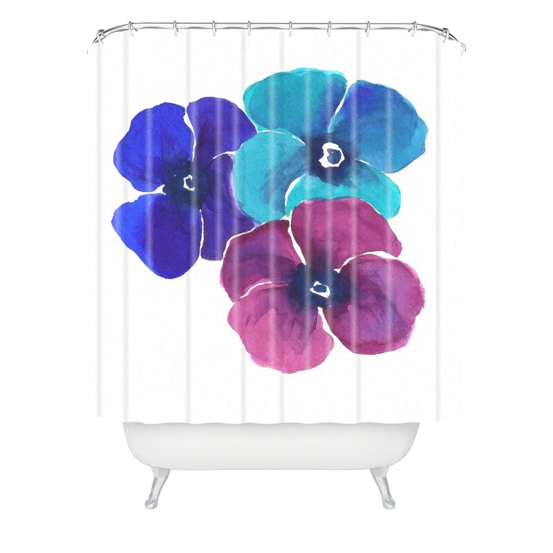 East Urban Home Jewel Tone Pansies By Laura Trevey Shower Curtain