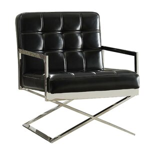Shivers High Backrest Polyurethane Upholstered Metal Armchair by Orren Ellis