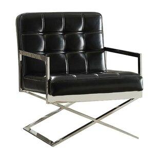 Shivers High Backrest Polyurethane Upholstered Metal Armchair by Orren Ellis