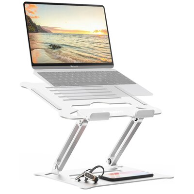 """Laptop Stand Ergonomic Height Angle Adjustable Portable Laptop Riser Compatible With Macbook, Air, Pro, Dell, HP, Lenovo, 10-17.3""""""""  For Desk Bed,Silve -  Auledio, J-HO-AI-001-Z19-01#ZZLqc"""