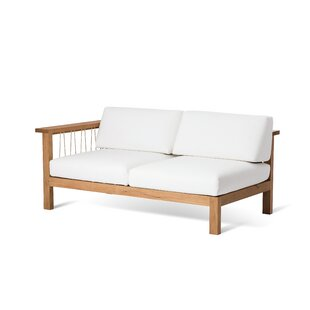 Maro Teak Left Arm Loveseat with Sunbrella Cushions