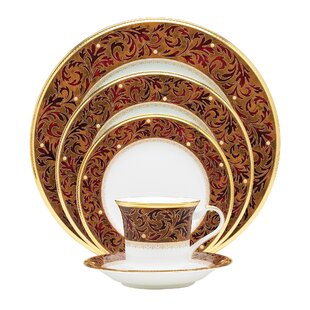 Xavier Gold Bone China 5 Piece Place Setting, Service for 1