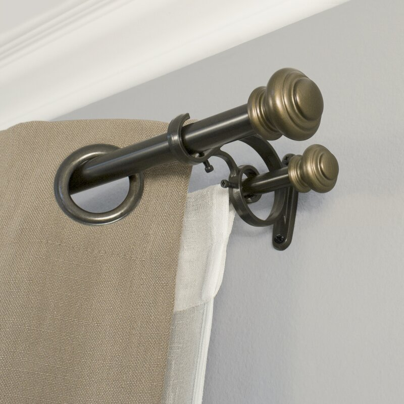 Bloxom Double Curtain Rod And Hardware Set