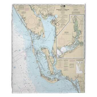 Breakwater Bay Nautical Chart Moosehead Lake Me 1985 Fleece Blanket Wayfair