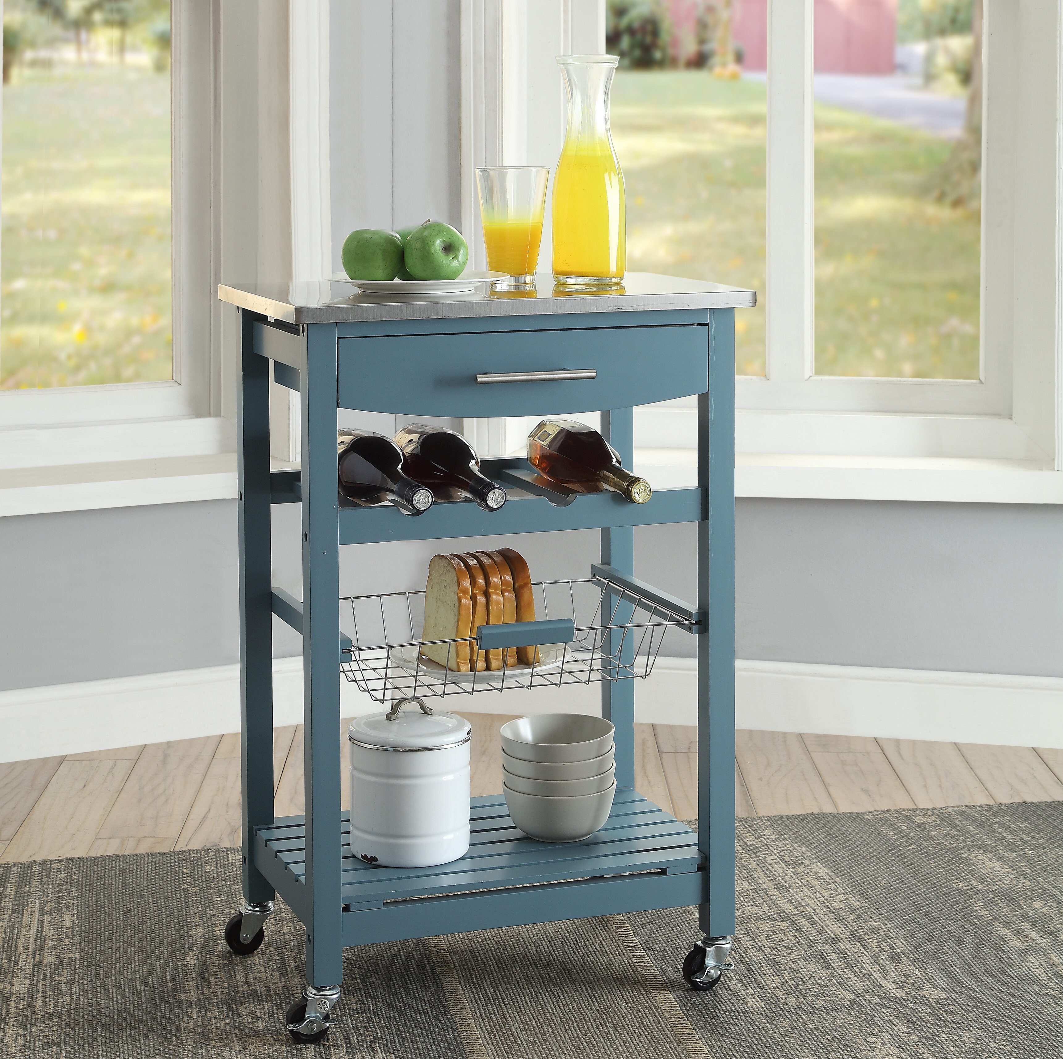 Highland Dunes Haviland Kitchen Cart with Stainless Steel ...