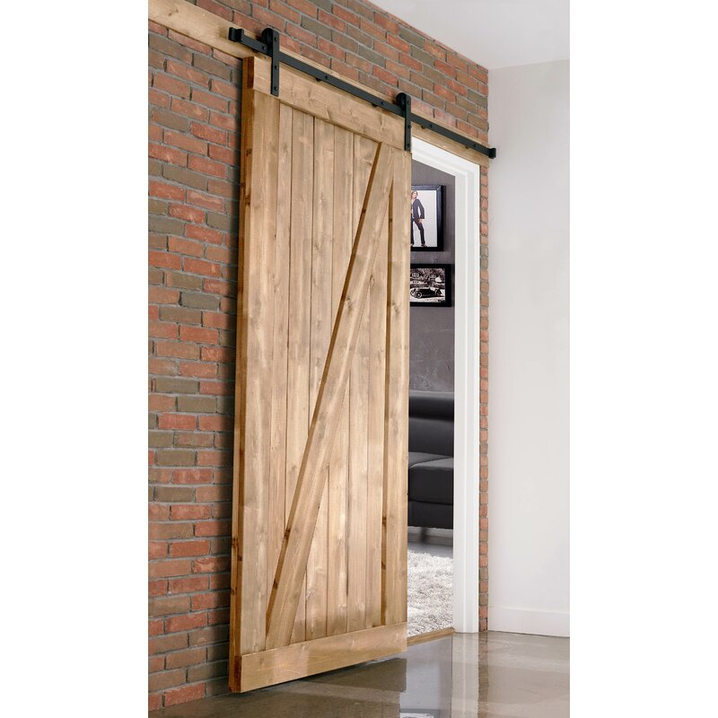 Farm Style Solid Wood Panelled Wood Prehung Interior Barn Door Kit  sc 1 st  Wayfair & Merry Products Farm Style Solid Wood Panelled Wood Prehung Interior ...