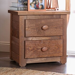 Goldie Wooden 2 Drawer Nightstand by Millwood Pines