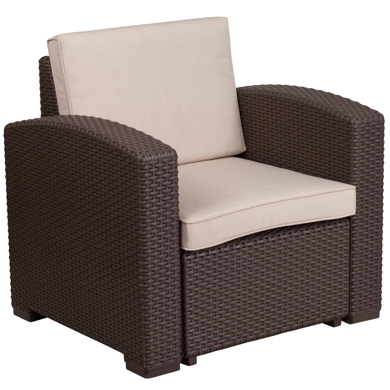 Breakwater Bay Clifford Faux Rattan Chair With Cushion U0026 Reviews | Wayfair