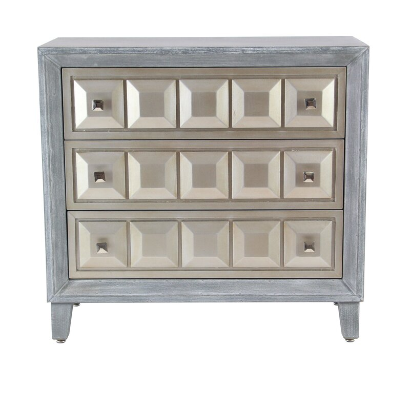 Alvaro Modern Wood 3 Drawer Accent Cabinet