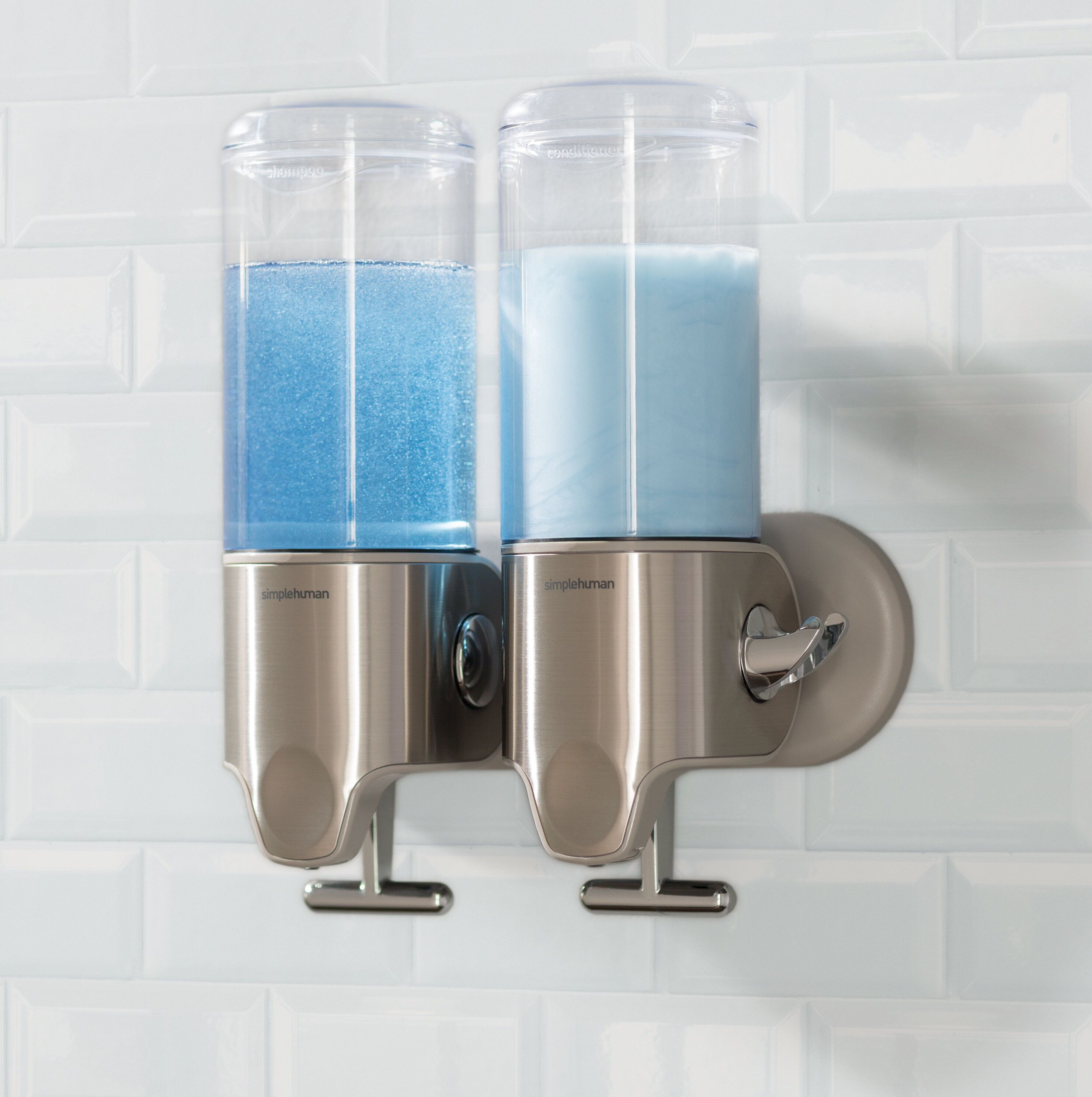 simplehuman Twin Wall Mount Soap Pumps, 15 fl. oz. each, Stainless ...
