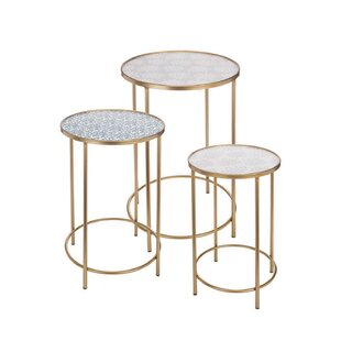 Sylmar Brass 3 Piece Nesting Tables