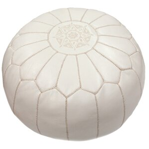 Cherise Pouf Ottoman in White by Mistana