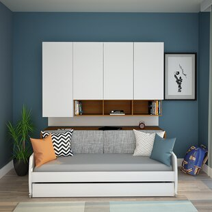 Brayden Studio Gautreau Compact Twin Sofa bed and Cabinets Wall System