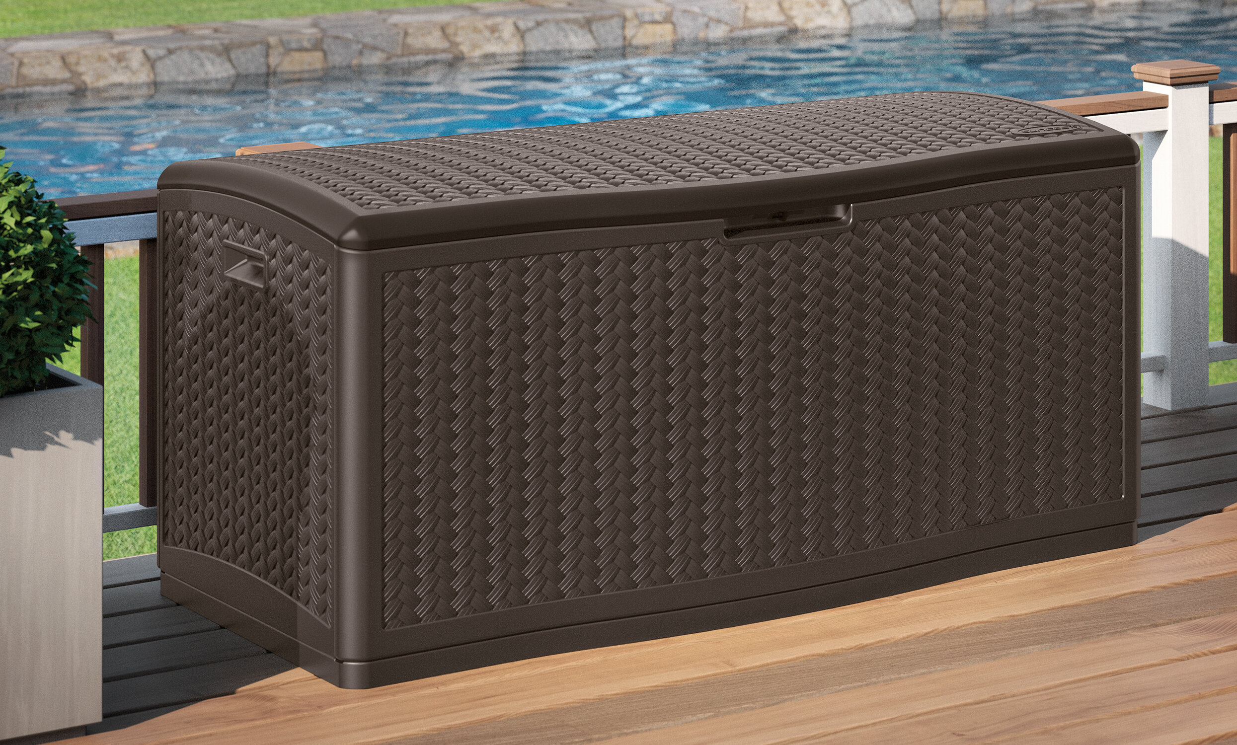 Suncast Blow Molded Herringbone 124 Gallon Resin Deck Box U0026 Reviews |  Wayfair