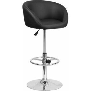 Whelan Round Low Back Adjustable Height Swivel Bar Stool Orren Ellis
