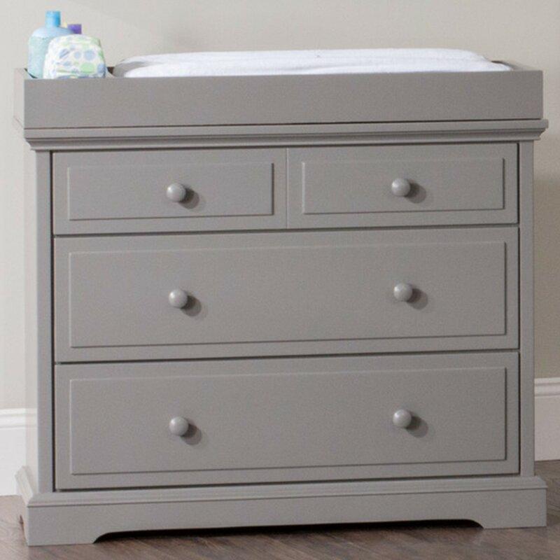 White Grey Wicker Storage Chest of Drawers Bedside Table Girls Kids Nursery