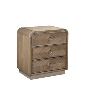 Waterfall 3 Drawer Nightstand
