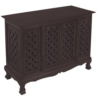 Handmade Acacia Lattice Panels Storage Accent Cabinet by EXP D?cor