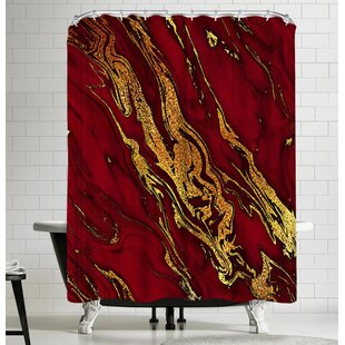 Grab My Art Luxury Red And Gold Glitter Gem Agate And Marble Texture Single Shower Curtain