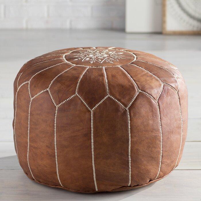 Excellent Cherise Leather Pouf Short Links Chair Design For Home Short Linksinfo