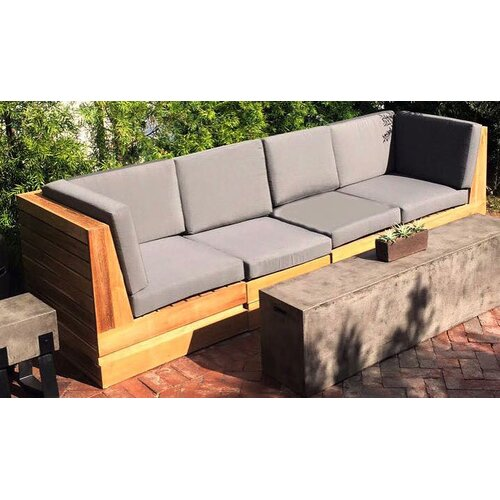 Iksunteak Seaside 5 Piece Teak Sunbrella Sectional Set With Cushions Wayfair