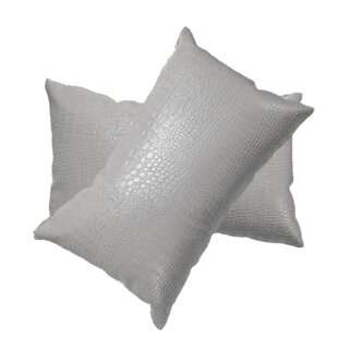 Giddens Croc Faux Leather Lumbar Pillow (Set of 2)