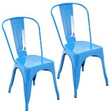 Clayhatchee Metal Slat Back Stackable Dining Chair (Set of 2) by Hashtag Home