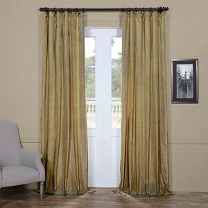 Autberry Riviera Striped Faux Silk Taffeta Rod Pocket Single Curtain Panel