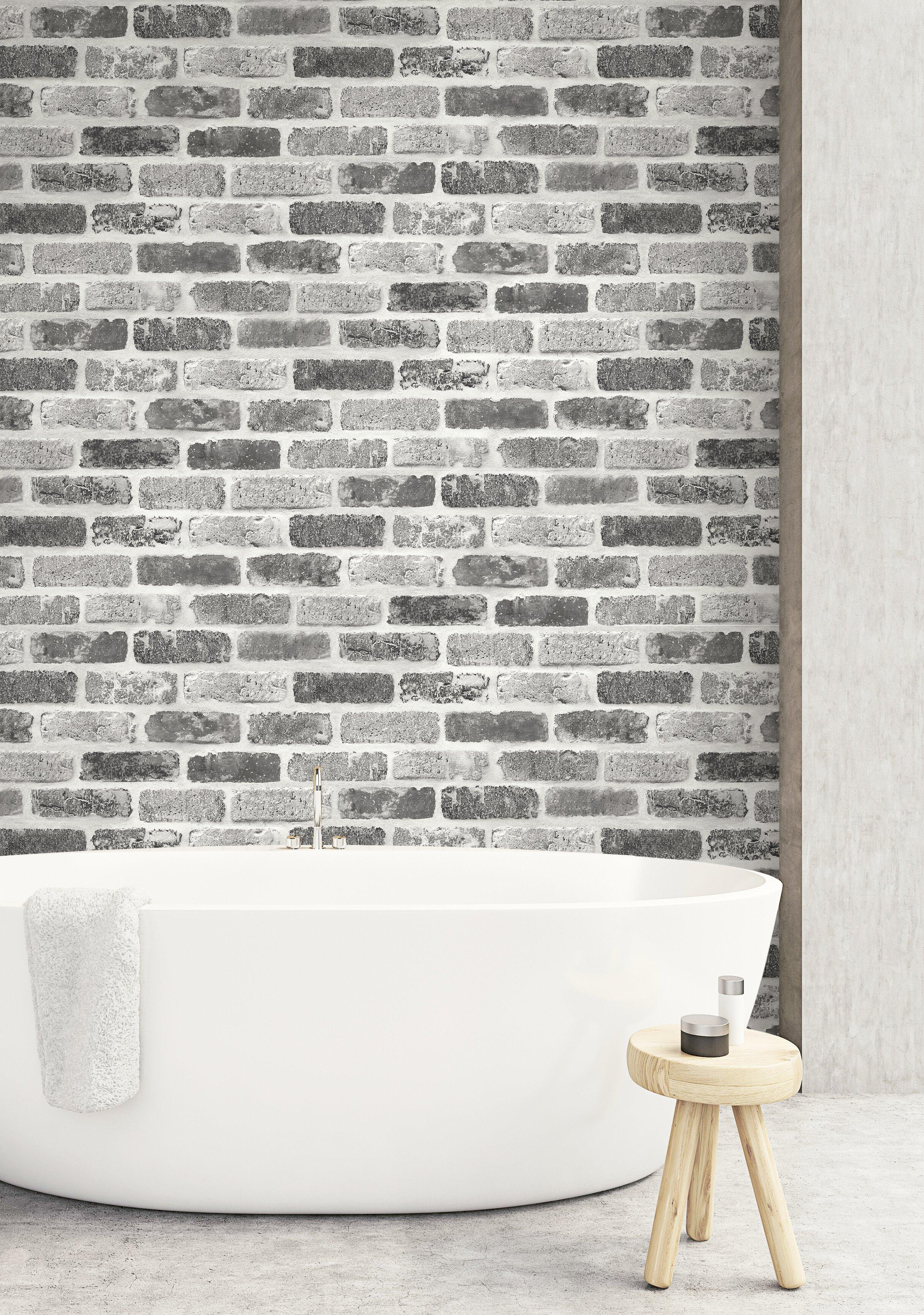 Williston Forge Rosalinda Washed Faux Brick 18 L X 20 5 W And Stick Wallpaper Roll Wayfair